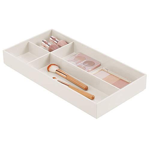 mDesign - Make-up organizer - cosmetica-organizer/opbergbox - voor lades en kaptafel - voor lippenstift, oogschaduw, make-upkwasten etc. - met 4 compartimenten/praktisch/plastic - Crème