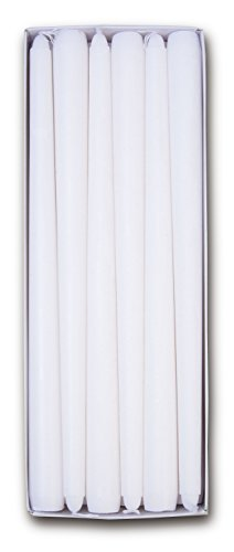 """Harmonic Blossom 12"""" Dripless Taper Candles 12 Pack – White Unscented, Smoke Free, 6-7 Hour Burn Time - Decorative Candles for Home, Restaurant, Party and Event Table Decoration"""