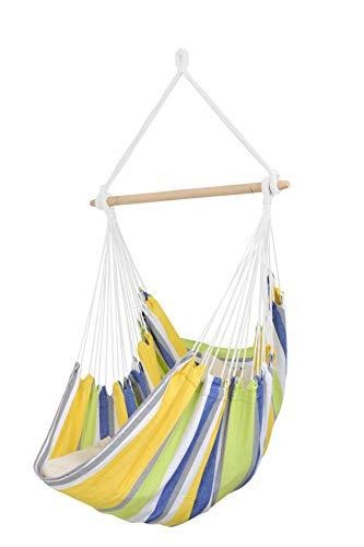 AMAZONAS Hängesessel wetterfest UV-beständig Relax Kolibri mit Querstab aus Holz 85 cm bis 120 kg buntgestreift