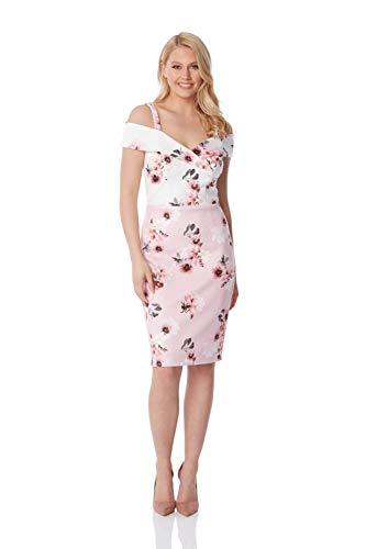 Roman Originals damesjurk met bloemenprint en schouder-cut-outs scuba-jurk lente zomer, elegant, kruisvaart, bruiloft, cocktails, bloemen, speciale gelegenheden, moeder van de bruid
