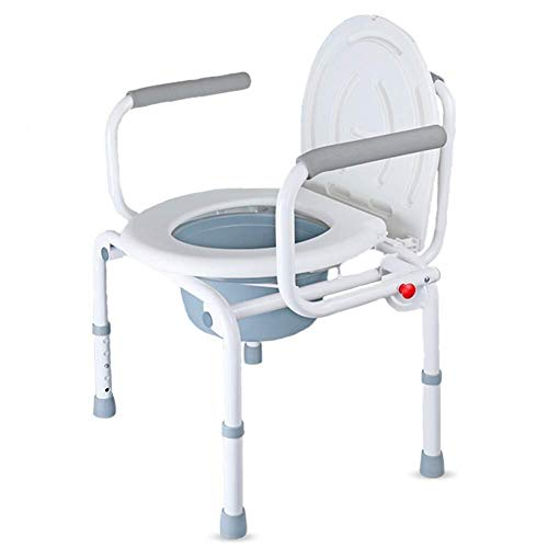 Bathroom Wheelchairs RRH Bedside Commodes Wheelchair Foldable Multi-Function Commode Chair Removable Anti-Skid Design Adjustable Height Toilet, Suitable for Elderly Pregnant Women