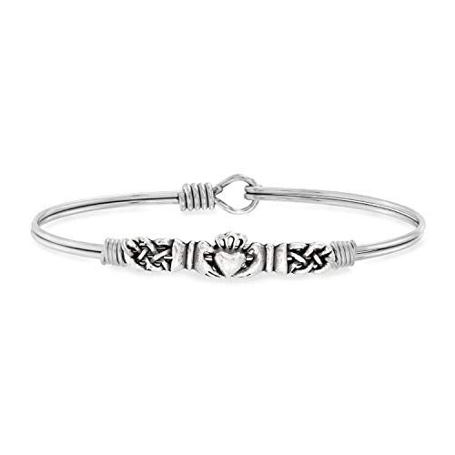 Luca + Danni Claddagh Bangle Bracelet For Women - Silver Tone Size Regular Made in USA