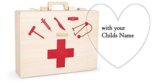 small foot 12998 Personalisierter Arztkoffer aus Holz ♥ | mit Namensgravur | ♥ wertvolles Einzel- und Erinnerungsstück♥ | 15-teilig | ♥ Geschenkidee für Kinder ab 3 Jahren ♥