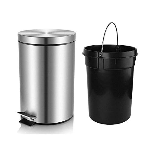 H+LUX Bathroom Trash Can with Lid Soft Close, Round Mini Trash Can with Removable Inner Wastebasket, Anti-Fingerprint Brushed Stainless Steel Trash Can, 0.8Gal/3L
