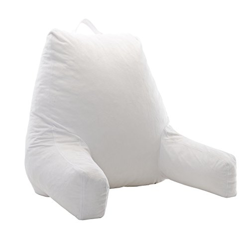 Cheer Collection Foam-Filled Reading and Gaming Pillow with Armrest and Washable Velour Cover, White