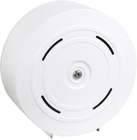Toilettenpapierspender Metall weiß - für 4 Kleinrollen - abschließbar