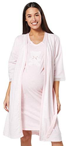 Chelsea Clark Conjunto de Maternidad para Mujer: Bata y camisón función de Lactancia (Rosa Polvo, M)