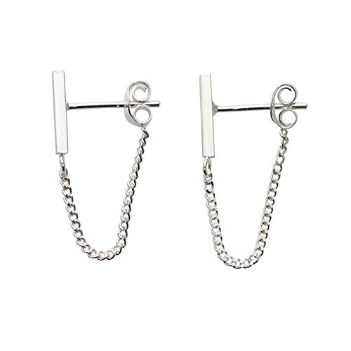 Minimalistische Sterling Silber Gold Kette Ohrringe - Drop Bar mit Line Chain-Staple Bar Line Kabel Studs für Sie - minimalistisches modernes Design von Galis (Silber)