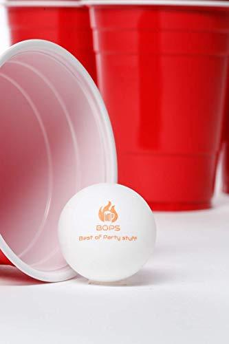 BOPS Bierpongset - 100x Partybecher Rot und Blau + 10 Bälle Trinkspiel Red Cups Beer Pong Partyspiel Plastikbecher - Best of Party Stuff