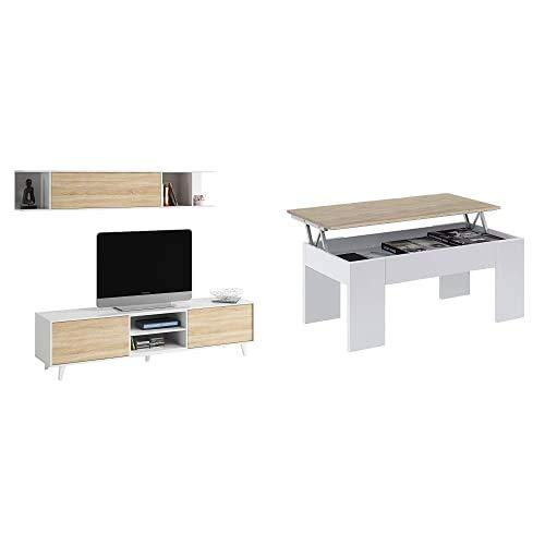 Habitdesign Mueble de salón TV, Roble, 180 cm x 54 cm x 41 cm + 0F1640A - Mesa De Centro Elevable Acabada En Color Blanco Artik Y Roble Canadian, Medidas 45 X 100 X 50 Cm