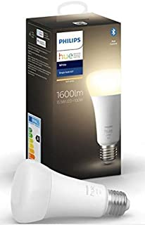 Philips Hue White Single Smart Bulb LED [E27 Edison Screw] 100 W with Bluetooth, Compatible with Alexa, Google Assistant a...
