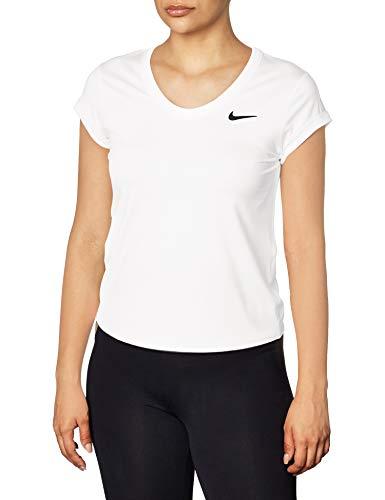 Nike Damen NKCT Dry T-Shirt, White/Black, M