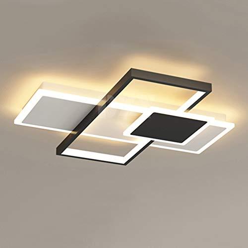 Lámpara LED de techo regulable con mando a distancia para dormitorio, luz de alta luminosidad, moderna lámpara de techo negra para salón, cocina, habitación de los niños, lámpara cuadrada