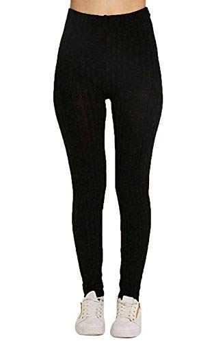 Style Wise Fashion Damen-Leggins, grob, gerippt, gestrickt, warm, Stretch, dick Gr. 38-40, Schwarz