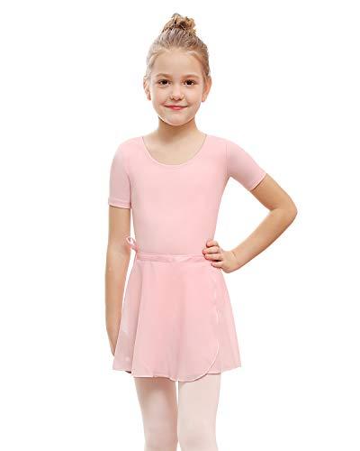 STELLE Girls Ballet Leotard with Separated Skirt, Short Sleeve (Ballet Pink, 85)