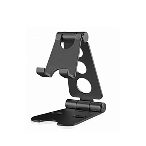 Kesio Fully Foldable Phone Holder for Desk, Dual Foldable Aluminum Stand Universal Phone Stand Compatible with iPhone iPad and All 4-10inch Devices (Black)