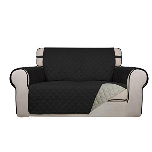 PureFit Reversible Quilted Sofa Cover, Water Resistant Slipcover Furniture Protector, Washable Couch Cover with Non Slip Foam and Elastic Straps for Kids, Dogs, Pets (Loveseat, Black/Beige)