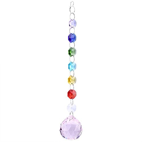 Hangende regenboog kristallen prisma's bal kroonluchter lamp voor ramen decoratie roze