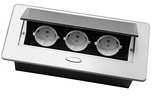 Einbausteckdose versenkbar mit oder ohne USB und in 2 Farben Silber oder Schwarz zum Auswählen (3x Schuko, Silber)