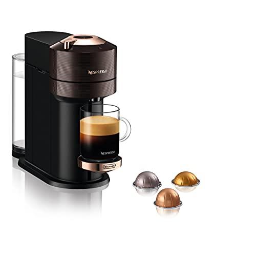 De'Longhi Nespresso Vertuo Next Kaffee- und Espressomaschine mit integriertem WiFi und Bluetooth, Automatische Kapselmaschine mit Ein-Berührungssystem, Braun