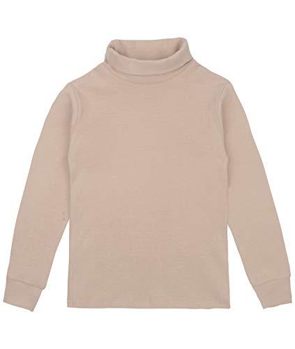 Spring&Gege Spring&Gege Mädchen Solid Rollkragen Baumwolle T-Shirt Kinder Base Layer Tops Beige 140 146
