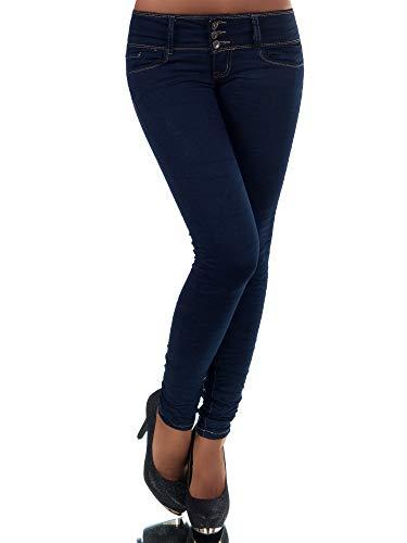 Diva-Jeans N447 Damen Jeans Hose Hüfthose Damenjeans Hüftjeans Röhrenjeans Röhrenhose Röhre, Blau, 40