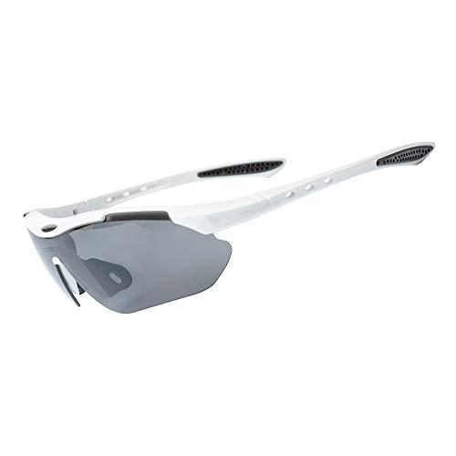 Fahrradbrille Sportbrille Radsportbrille mit 5 Wechselgläsern und Myopie-Rahmen Unisex, Sport Sonnenbrille für Laufen/Radfahren/Fahren/Golfen (Weiß)