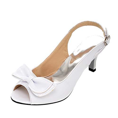 Qmber Club Brautschuhe Damen High Heels Schuhe High Heel Stiletto Leder Sandaletten Leder Kurze Stiefel einzelne Sandalen Große, mehrfarbige Schleife aus Lackleder/White,36