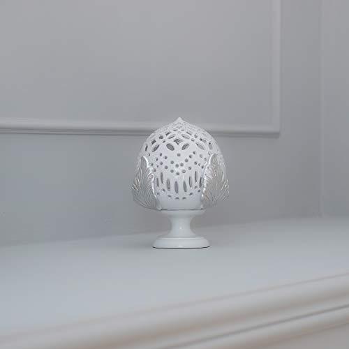 Tischleuchte PUMO CASTELLO 20 cm weiß und silber Blatt Tischlampe Barock modern