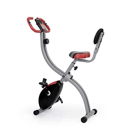 Ultrasport F-Bike 350B Aparato de gimnasia para un entrenamiento cardiovascular respetuoso con las articulaciones, con Respaldo, Negro/Rojo