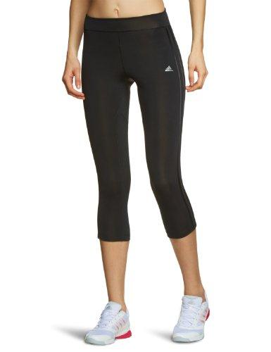 adidas Damen 3/4-lange Tights Climacool Training Core 3-stripes, Black/Black/Matte Silver, XS, Z29644