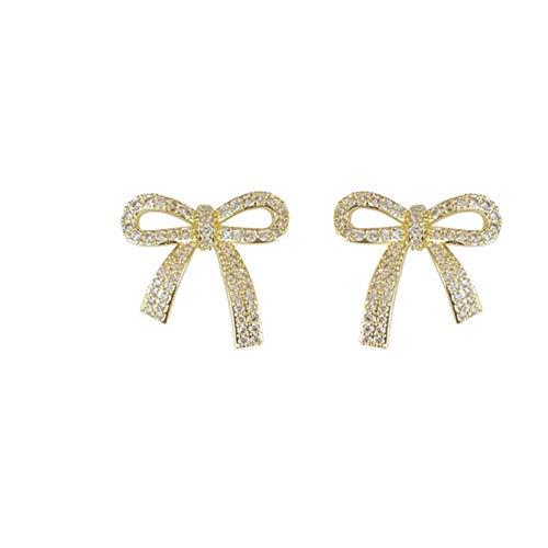 Super fairy bow stud earrings female sterling silver sweet and micro-studded earrings earrings