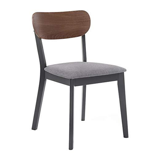 Benjara Wooden Dining Chair with Cushioned Seat, Set of 2 Silla de Comedor Moderna de Madera con Asiento Acolchado, Juego de 2, Maciza, Tela, Gris y Negro