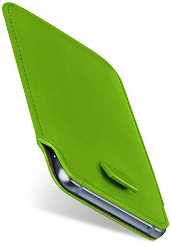moex Slide Hülle für BlackBerry Z10 - Hülle zum Reinstecken, Etui Handytasche mit Ausziehhilfe, dünne Handyhülle aus edlem PU Leder - Grün