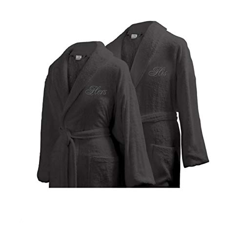 Luxor Linens - Terry Cloth Bathrobes - 100% Egyptian Cotton His & Her Bathrobe Set - Luxurious, Soft, Plush Durable Set of Robes (His/Hers, White Monogram, Dark Grey Robes)