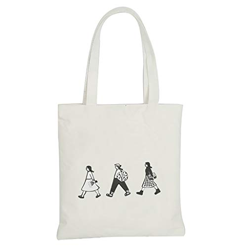 Auifor✿ Modieuze damescanvas print cartoon schoudertassen messenger tas handvat zakken