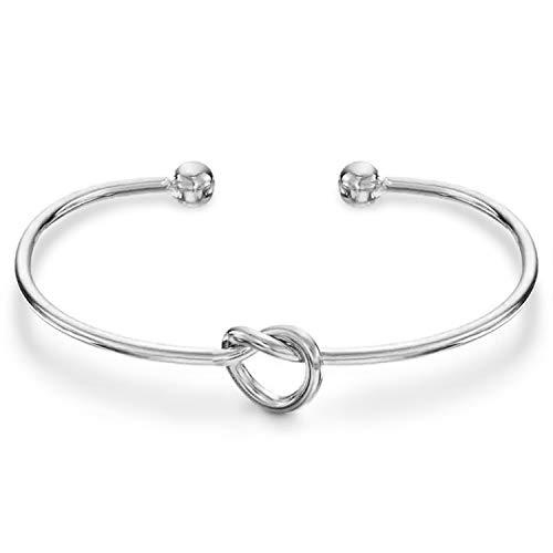 PAVOI 14K Gold Plated Forever Love Knot Infinity Bracelets for Women   White Gold Bracelet