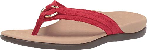 Vionic Women's Tide Aloe Toe-Post Sandal - Ladies Flip- Flop with Concealed Orthotic Arch Support Cherry Suede 10 Medium US
