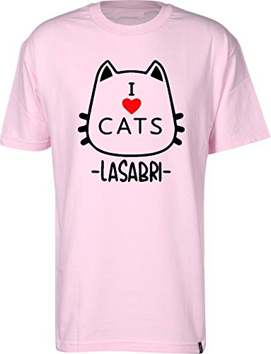 Unisex Taglie Adulto e Bambini Bianca o Nera Tshirteria Italiana Felpa Cappuccio LaSabriGamer I Love Cats La Sabri Gamer