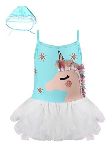 iixpin Ropa Bebé Verano Traje de Baño para Niñas Bañadores de Unicornio Ropa de Playa Bikini Body Cómodo con Tutú Azul 3-4 años