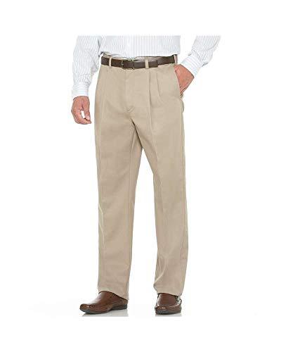 Savane Men's Flat Front Wrinkle Free Twill,Khaki,38W 29L