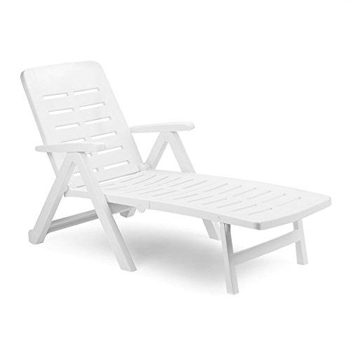 Mojawo Liege mit hohem Liege- + Sitzkomfort Sonnenliege Gartenliege Relaxliege Saunaliege Kunststoff Weiß 96x72x189cm