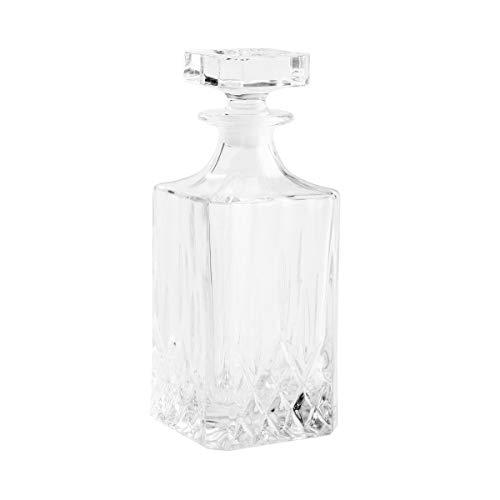 BUTLERS Crystal Club Karaffe 750ml aus Kristall - Eckige Whiskeykaraffe als Whiskeydekanter und Wasserkaraffe mit Deckel