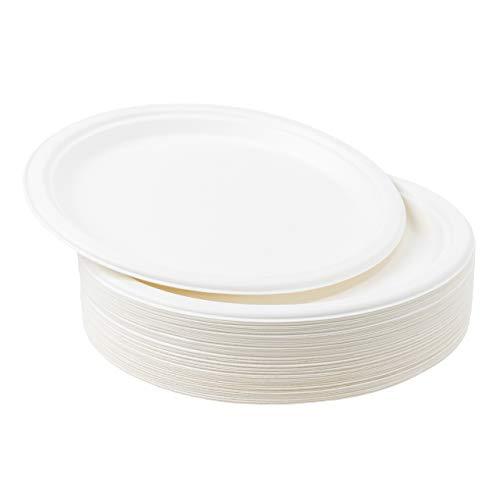 50 Platos Desechables de Papel de Caña de Azúcar, 26cm - Rigido y Resistente - Biodegradable y Ecológico - Impermeable y Apto para Microondas - Alternativa de Plástico Natural| Fiestas Cumpleaños.