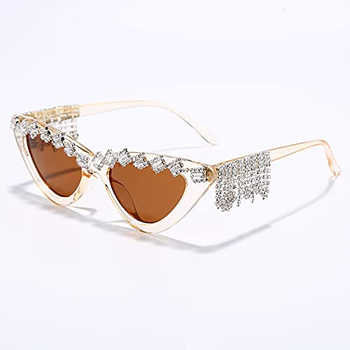 WOJING Vintage Red Mujeres Tassel Diamond Sunglasses Lujo Moda Negro Gato Ojo Rhinestone Glasses Oculos Feminino