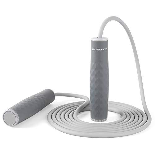 BONMIXC Corde à sauter lestée de 1 lb pour femme - Corde à sauter en silicone - Longueur réglable - Pour adulte