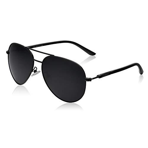 LUENX - Gafas de sol polarizadas para hombre, con protección UV 400, 60 mm Negro 13-negro L