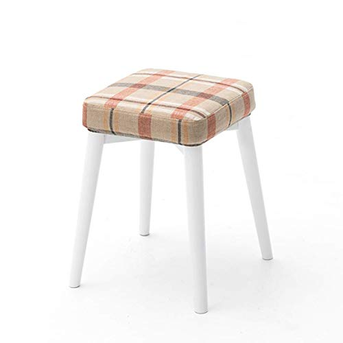 Huishoudproducten / massief houten eetkamerkruk vierkant kruk stapel kan worden kruk creatieve mode dressing kruk doek eettafel kruk kleine familie bank witte poten 3, mooi en duurzaam