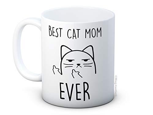 mug-tastic Best Cat Mom Ever - Unhöfliche Katze - Lustig Hochwertigen Kaffeetasse Becher