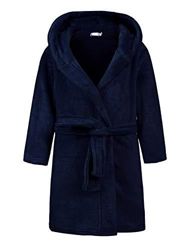 Bricnat Mädchen Bademäntel Baumwoll Kinder Morgenmäntel mit Kapuze einfarbig Kinder Fleece-Bademantel Punkte mit Kapuze Flauschiger ,Blau